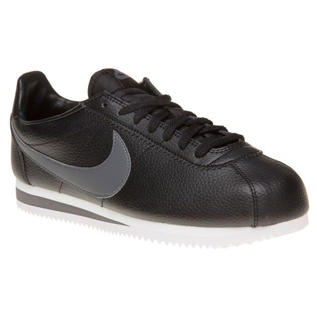vette Nike Cortez Leather Trainers (zwart)