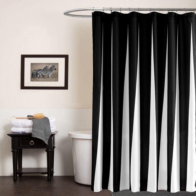 Black And White Shower Curtain Striped Lines Cortinas De Ducha