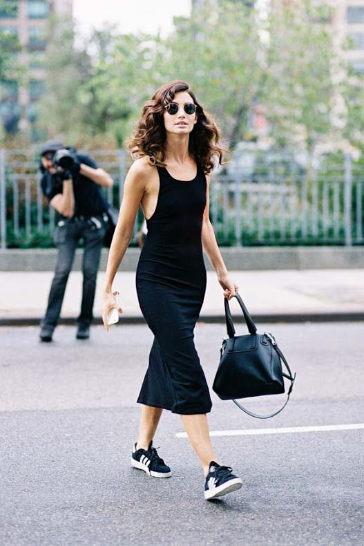Black Jersey Dress & Trainers - Image Via Pinterest   Just. Wear. Trainers   Spring/ Summer Fashion   Street Style   Fashion   Footwear   Sneakers   Pumps