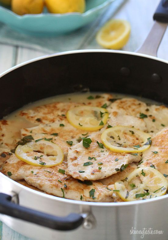 Skinless chicken cutlets, lightly coated in flour and egg, cooked in a white wine lemon sauce.