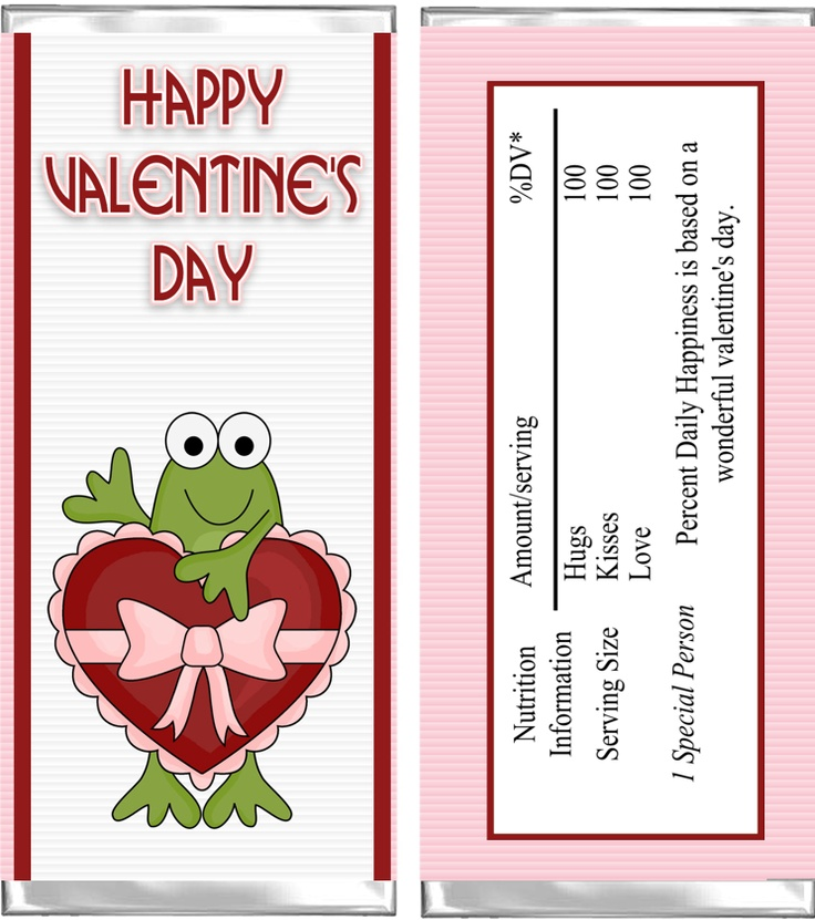 Valentine frog candy wrapper aj wrappers valentine 39 s for Valentine candy bar wrapper templates