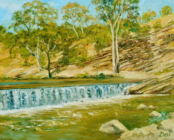 Oil painting in impressionist style by Dai Wynn of the Dights Falls and weir on Melbourne's Yarra (Birrarung) River at Abbotsford, just east of the central business district.  Oils on canvas panel; 20.3 cm high by 25.4 cm wide by 0.4 cm deep approximately (8 inches by 10 inches).