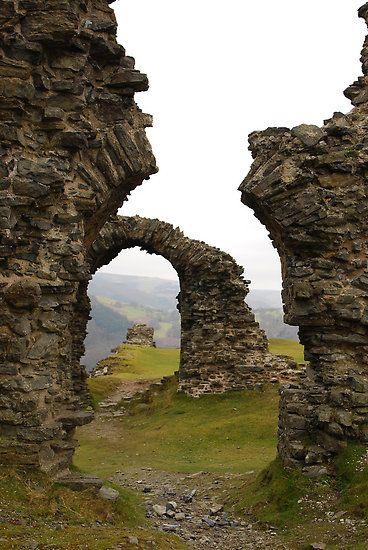 Castell Dinas Brânm, a medieval castle above Llangollen in Denbighshire, Wales.