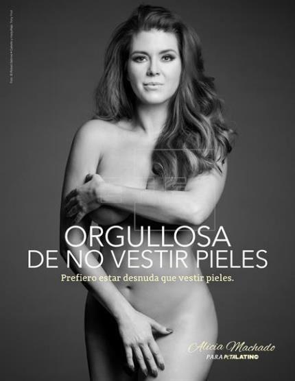 """Alicia Machado prefiere """"estar desnuda que vestir pieles"""""""