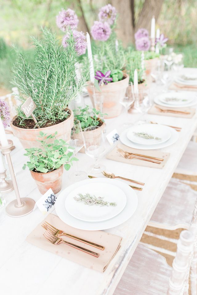 Herb centerpieces | Chris Loring Photography | see more on: http://burnettsboards.com/2015/12/roots-shoot-an-elegant-organic-farm-wedding/