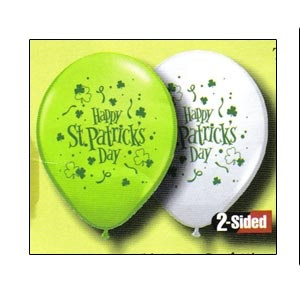 """11"""" Balloon (St. Patrick's Day Confetti) Assorted White & Lime GreenAvailable empty.Helium filled option for local pickup or delivery only.For larger quantities than listed under """"balloon options"""" please inquire."""