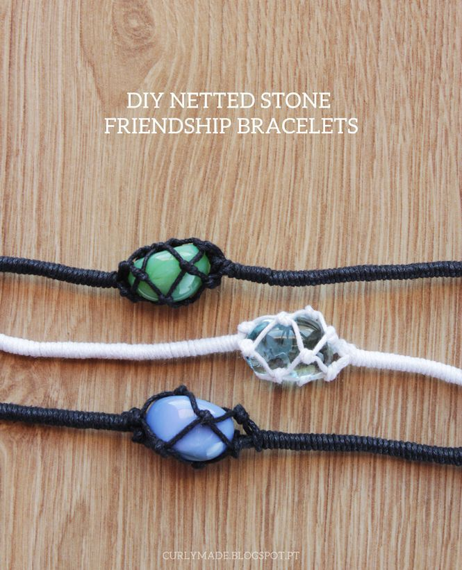 DIY Netted Stone Macrame Friendship Bracelet Tutorial from Curly Made. There is both a video and written tutorial
