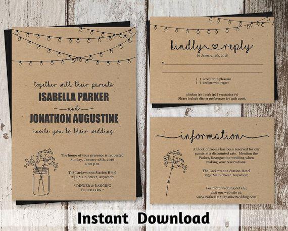 Hochzeit Einladungsvorlage  Einmachglas  von InstantInvitation