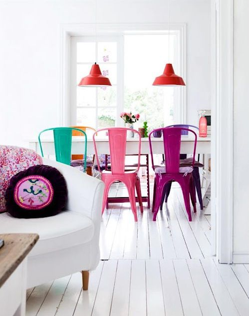 multi-color chairs add a pop of colorDining Rooms, Kitchens Chairs, Interiors, Dining Chairs, Colors Chairs, Dining Room Chairs, Bright Colors, White Wall, White Room