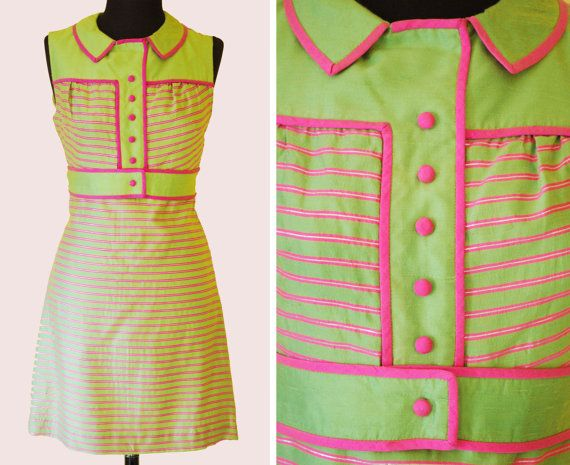 Adorable Vintage 60's Tailored Scooter Go-Go Mini Dress - Peter Pan Collar- Striped- Hot Pink