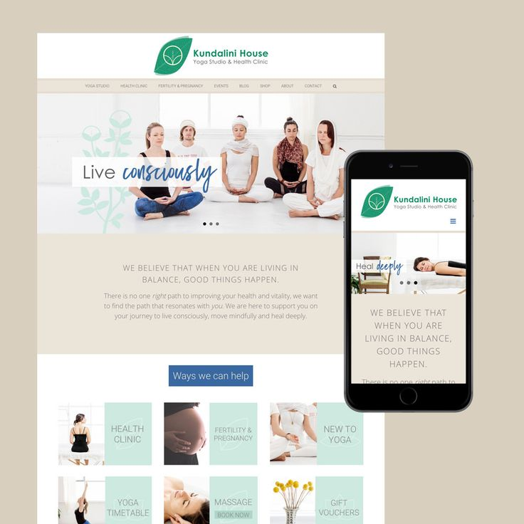 Kundalini House yoga and health clinic in Fizroy North. Website design Melbourne by Ange Hammond of Resonant Imagery.