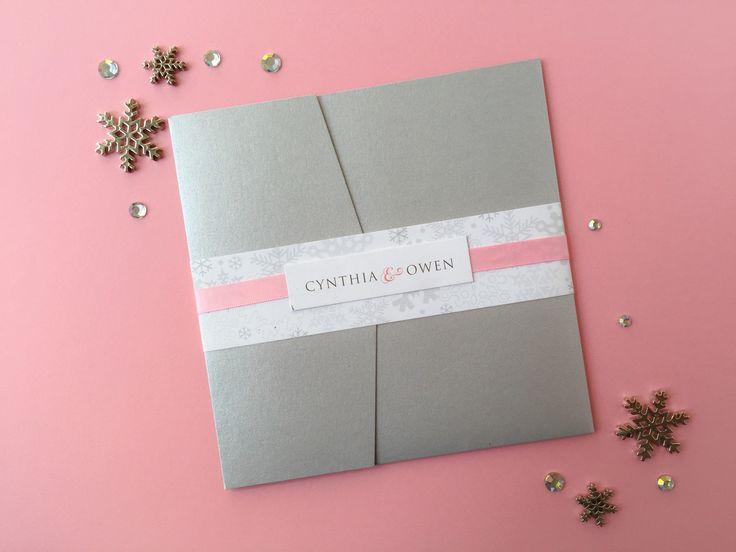 Winter wedding invitations, silver wedding invites, snowflake wedding invitations - Hello Beautiful Designs