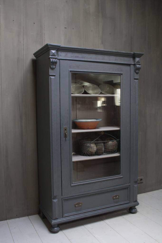 Vitrinekast Oud Grenen.Antieke Oud Grenen Kast Met Glas En Lade 172 X 104 X 48 In
