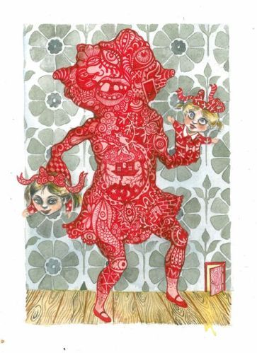 Red Room (Puppeteer) - 2011, mixed media, 32 x 25 cm.