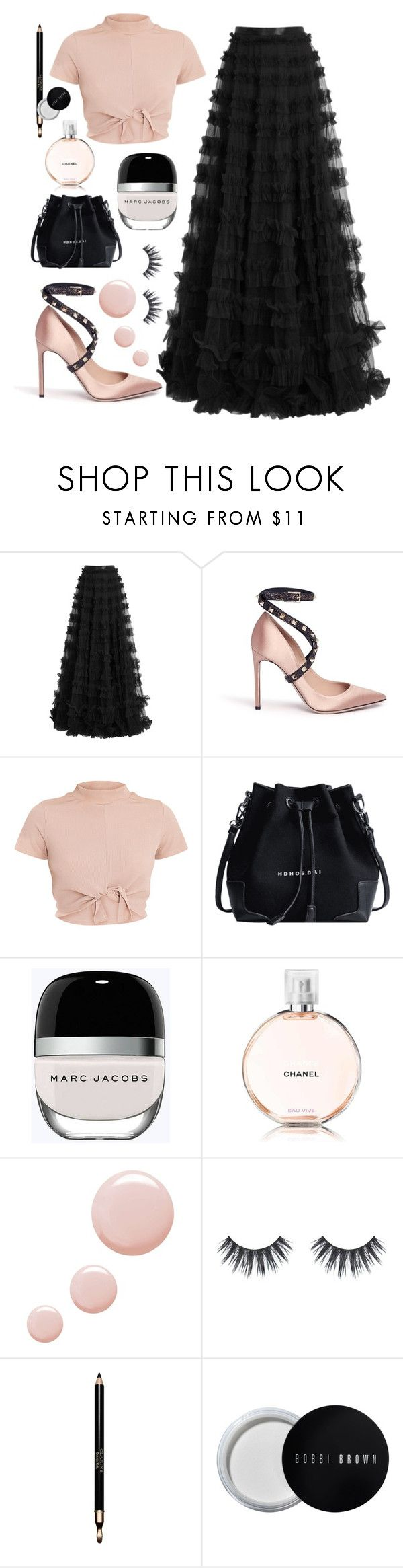 """Ballet inspired"" by lauraleeanne ❤ liked on Polyvore featuring Rachel Gilbert, Valentino, Marc Jacobs, Chanel, Topshop, Clarins and Bobbi Brown Cosmetics"
