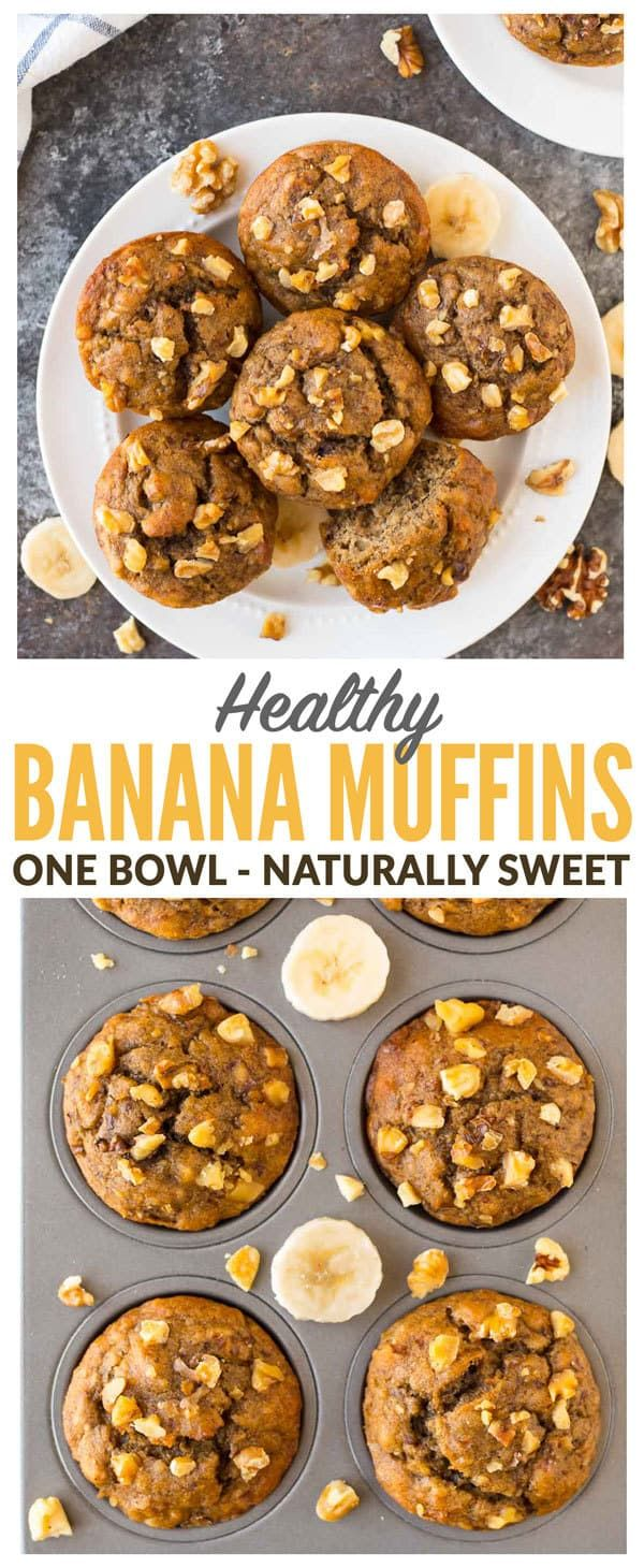 The BEST healthy banana muffins with Greek yogurt, whole wheat flour, coconut oil, and maple syrup. SO moist, fluffy, and great for kids! These easy one-bowl muffins taste like they came from a bakery but are high protein and low calorie! #healthy #bananamuffins #muffinrecipes #easy