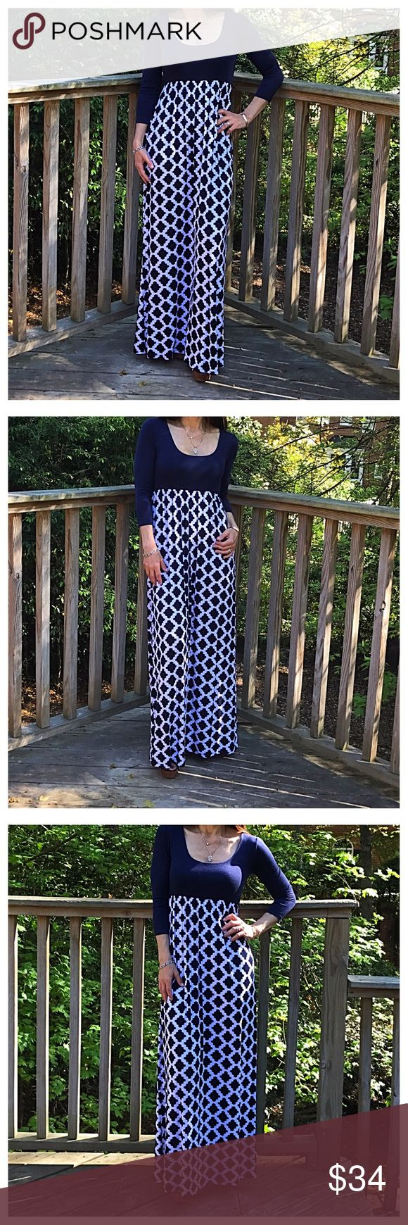 🆕 3/4 sleeves chic print maxi dress Hour Glass Lilly gorgeous scooped neck navy blue 3/4 sleeves maxi dress PLEASE Use the Poshmark new option you can purchase and it will give you the option to pick the size you want ( all sizes are available) BUNDLE and save 10% ( no trades price is firm unless bundled) Dresses Maxi