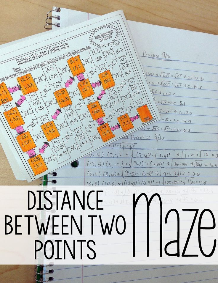 Distance Formula Maze Geometry worksheets, 8th grade