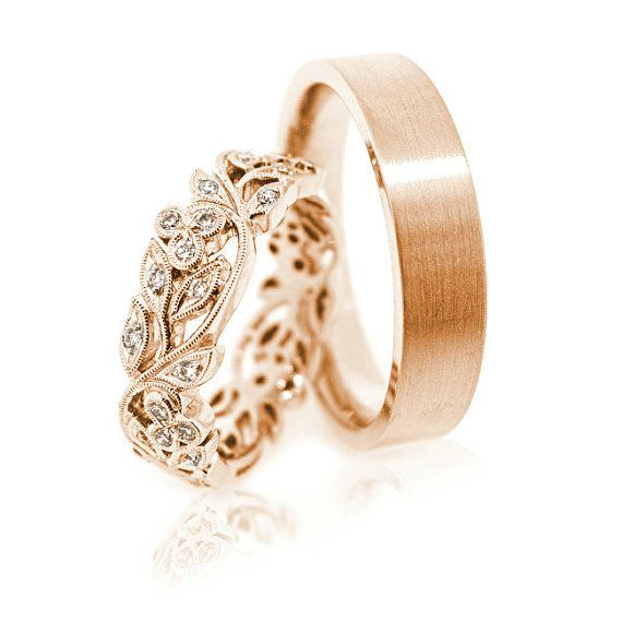 14k Gold Wedding Bands BandsUnique BandsMatching BandsCouple Rings Ring Set His And Her