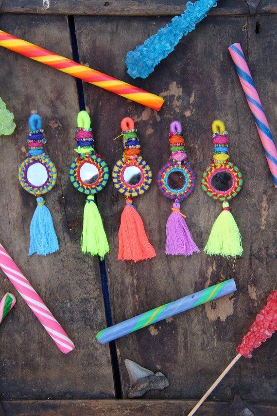 Shorty Tassel Mirror Charms, Swag, Decoration, Keychain, Jewelry Supply, Boho Gypsy Fashion Design, Decorating, Summer Accessory 1 Piece