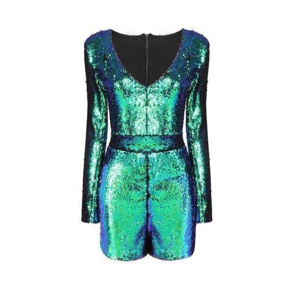 Yoins Yoins Green Playsuit (2.290 RUB) ❤ liked on Polyvore featuring jumpsuits, rompers, playsuit romper, sequin romper, green rompers, sequin rompers and v neck romper