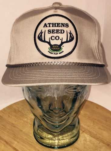 17b813e24af VTG ATHENS SEED CO. Buck Forage Food Plot Seed Stone Gray Hat Cap Snapback  Cord