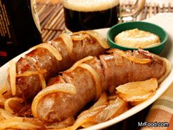 Beer-Basted Sausage-what goes better with Creswick Farms Brats than beer?