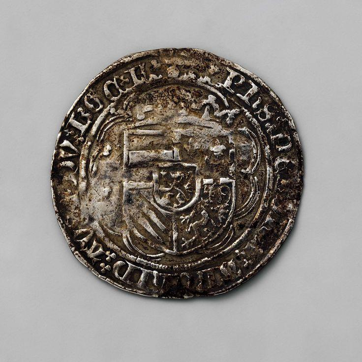 Anonymous | Dubbele stuiver uit Vlaanderen van Philips de Schone, 1482-1506, Anonymous, 1499 - 1500 | Zilveren munt. Voorzijde: in een veelpas gekroond samengesteld wapenschild van Bourgondië. Keerzijde: kort gebloemd kruis, in het hart lelie.