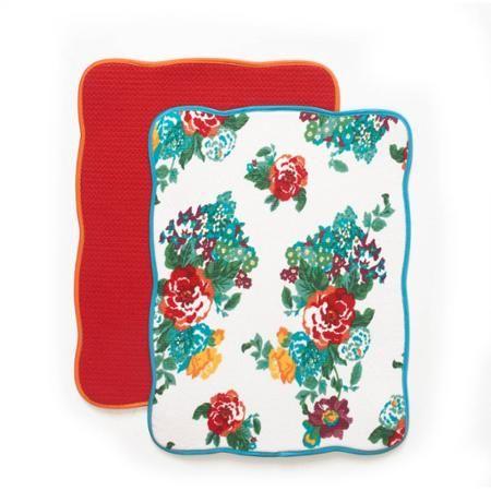 The Pioneer Woman Country Garden Reversible Dish Drying Mat, 2pk - Walmart.com