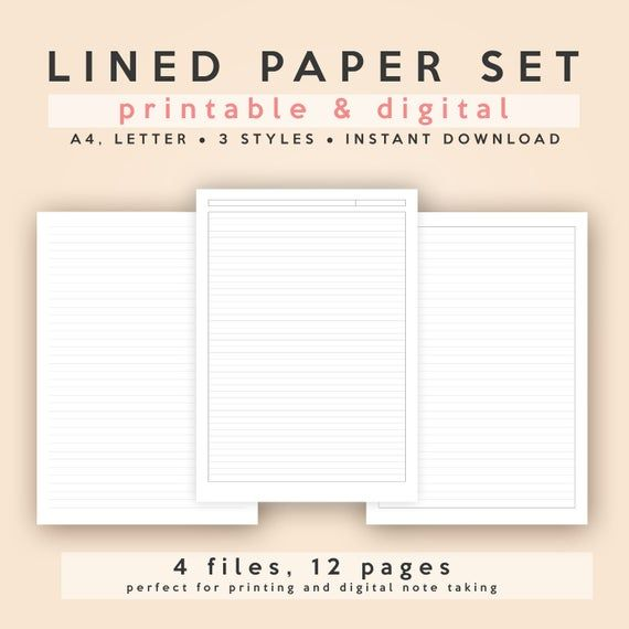 Lined Ruled Paper Set A4 And Letter Printable Digital Etsy In 2021 Ruled Paper Daily Planner Template Lettering