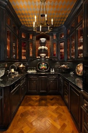 Traditional Pantry with Wood Boo Wood Tile VFA-45002-A, Hardwood floors, Built-in bookshelf, Chandelier, Crown molding