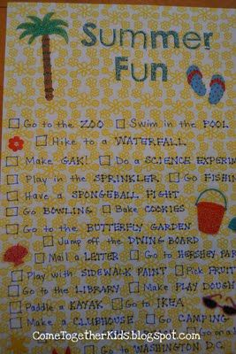 Summer Fun Check List (great ideas for making summer special for kids & adults)