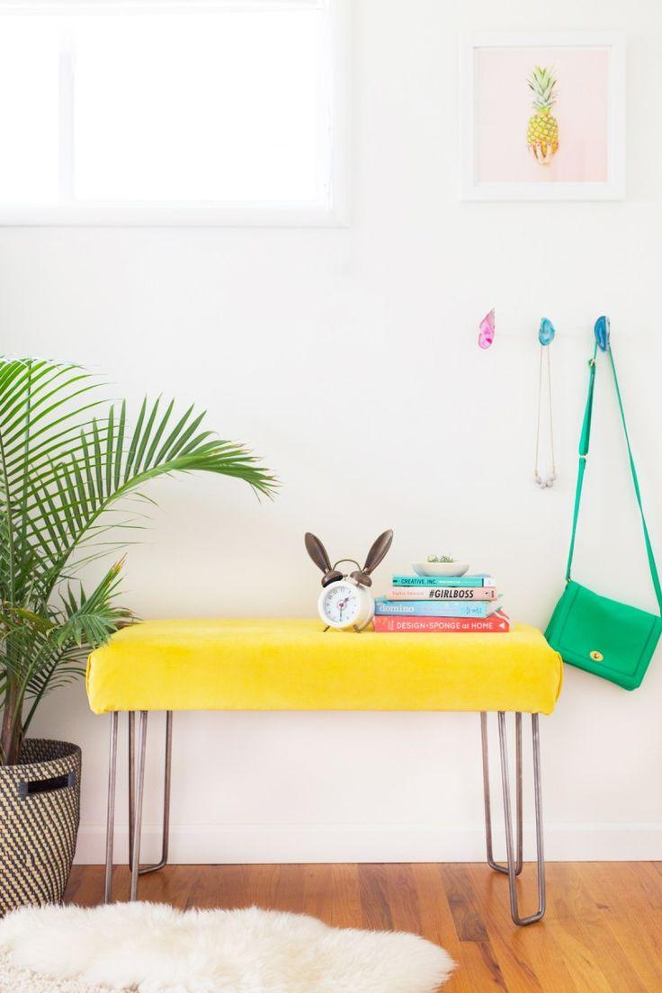 How to make a modern hairpin leg bench. That yellow velvet!