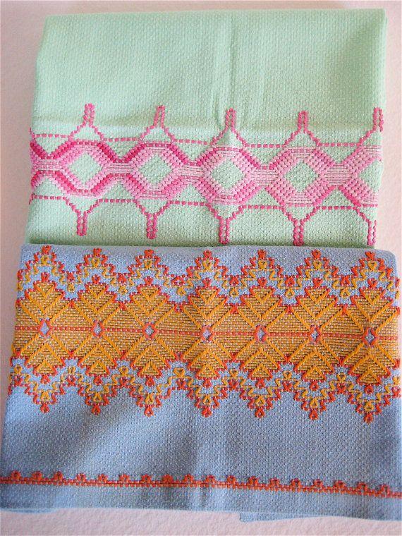 Vintage Tea Towels, Embroidered Swedish Huck Pair