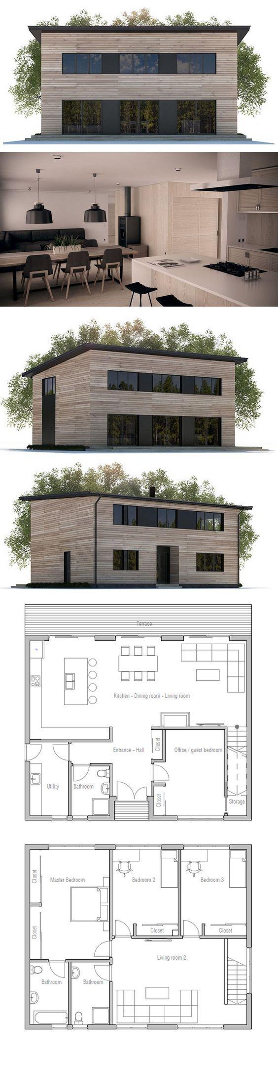 1000 ideas sobre planos de casas economicas en pinterest for Planos de viviendas economicas