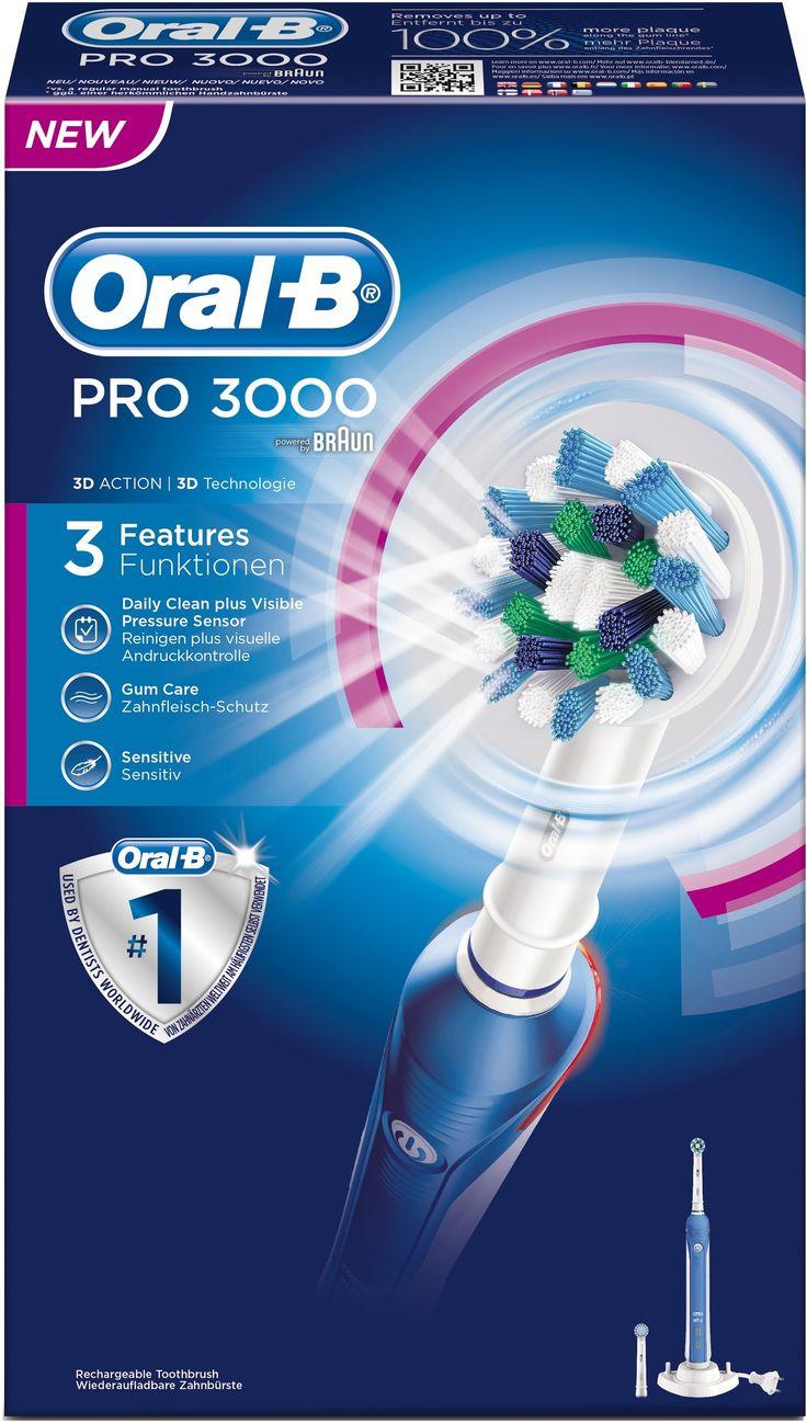 Oral B Oral-B Elektrische Tandenborstel - Pro3000 Cross Action  Description: Oral-B Elektrische Tandenborstel - Pro3000 Cross Action De Oral-B PRO 3000 elektrische tandenborstel biedt een superieure reiniging in vergelijking met een gewone manuele tandenborstel. Het op professionele reinigingsinstrumenten genspireerde ontwerp van de CrossAction tandenborstelkop omvat elke tand met borstelharen die onder een hoek van 16 graden zijn geplaatst en de 3D-reinigingsactie oscilleert roteert en…