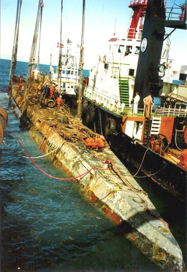 The reemergence of U 534 from the ocean's depths raised to the surface off the Danish Island of Anholton 23 August 1993 [[MORE]] more pictures https://www.youtube.com/watch?v=CgMG5dBe1bg
