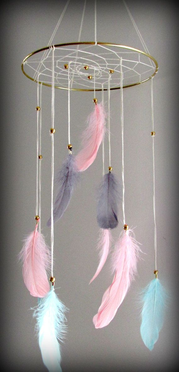 Baby Mobile Dream catcher Mobile Boho Feather by FineBubbles