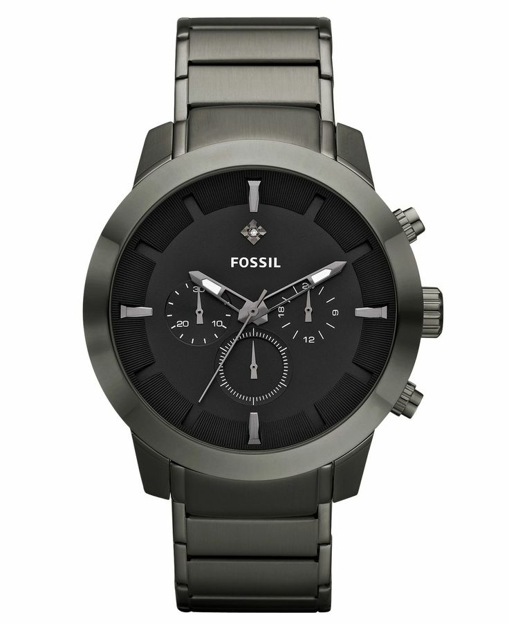 17 best images about watches fossil watch men s chronograph diamond accent gunmetal ion plated stainless steel bracelet 45mm fs4680