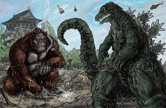 King Kong vs. Godzilla by Gazbot on Etsy