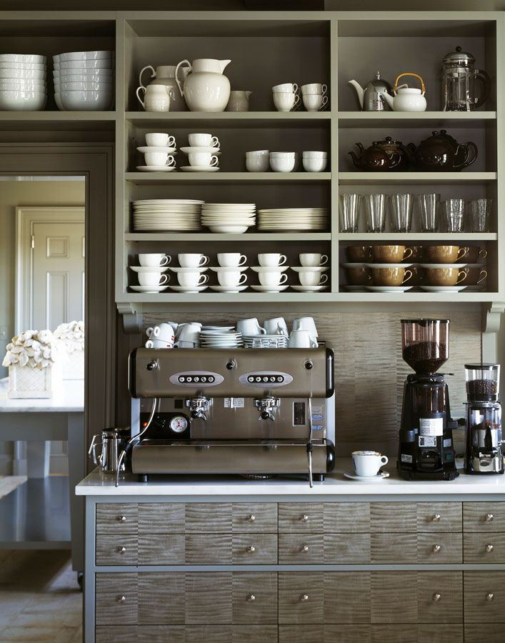 Shades of Gray home coffee bar in a Kitchen that make a