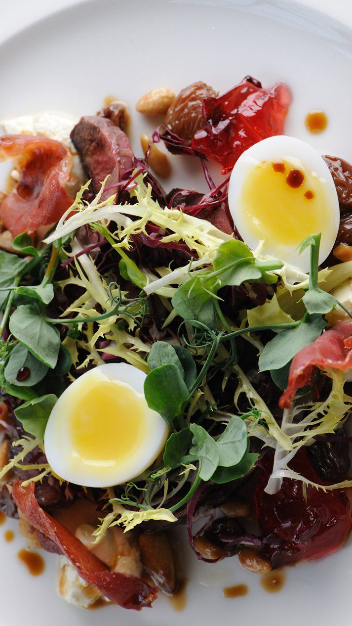 Dominic Chapman's pigeon salad recipe represents a lavish way to celebrate the meaty tasting pigeon. There are several processes involved in this restaurant quality dish but the end result produces a stunning salad fit for a king. Use more available ham if you can't find the variety Dominic advises.