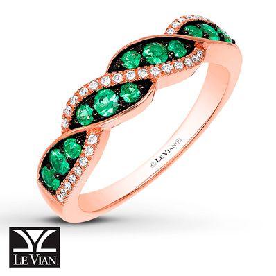 Le Vian Natural Emerald Ring 1/15 ct tw Diamonds 14K Gold