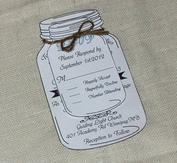 @B R   Mason Jar Wedding Invitation Suite by LoveofCreating, $225.00  Close! But idea is to have a cork magnet save the date tied around it