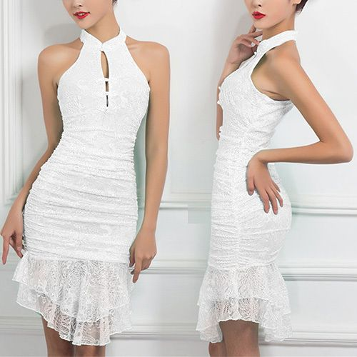 You can't imagine how charming and elegant you are in this dress. It is beyond words. Halter style,with elegant and sweet flouncing hemline design. Once pairing with your sexy high-heeled shoes and charming hairdo,you would be more attractive.