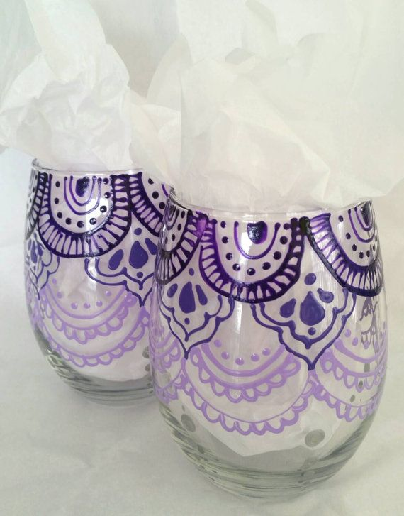 Boho dainty lace mandala stemless wine glasses Check out this item in my Etsy shop https://www.etsy.com/listing/256591180/one-of-a-kind-hand-painted-stemless