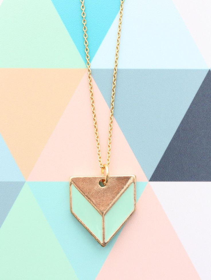 Mint Chevron Necklace www.cloudninecreative.co.nz