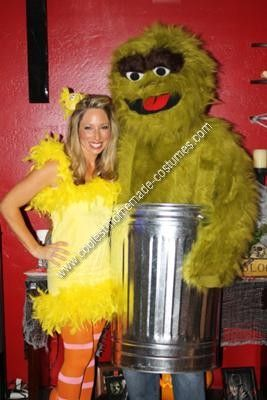 Homemade Homemade Big Bird and Oscar the Grouch Couple Halloween Costume Ideas: We wanted to do a family theme, so we decided on Sesame Street. My husband really wanted to wear a trashcan so of course he opted for Oscar the Grouch!