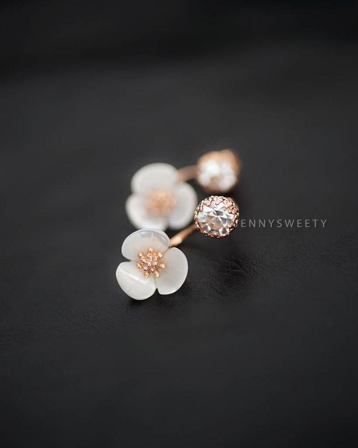 CZ ear jacket ear cuff jacket gold ear jacket Floral simple unique earring flower earring (19.98 USD) by JennySweety