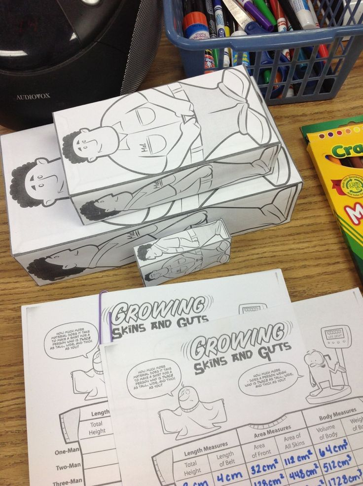 skin and guts - an awesome way to teach surface area and volume. Some kids have such a hard time with this. Also demonstrates the effect of changing the dimensions.